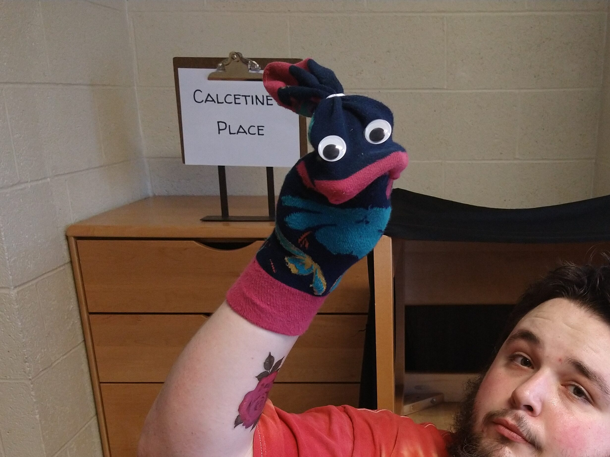 """Long colorful sock with large googley eyes and the closed end of the sock secured with a bread-tie to look like a ponytail. The sock is in front of a sign that says """"Calcetine's Place""""."""